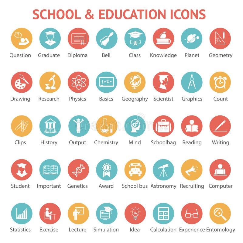 Sistema de iconos de la escuela y de la educación stock de ilustración