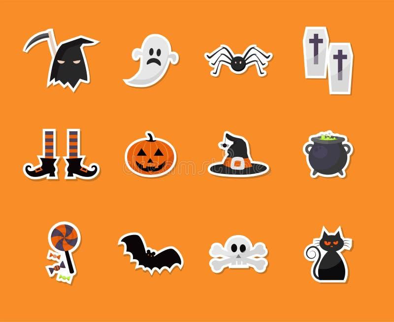 Sistema de iconos de la etiqueta engomada de Halloween stock de ilustración