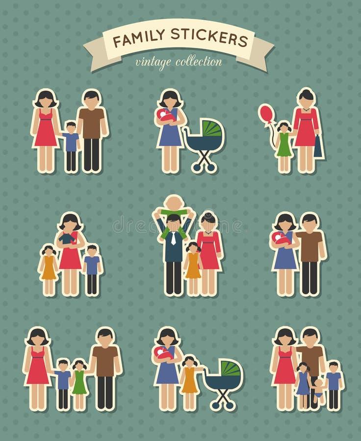 Download Sistema De Iconos De La Familia Del Color Ilustración del Vector - Ilustración de niño, papel: 42436016