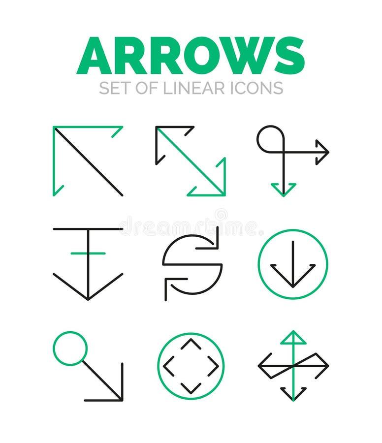 Sistema de iconos de la flecha, estilo fino linear mínimo plano ilustración del vector