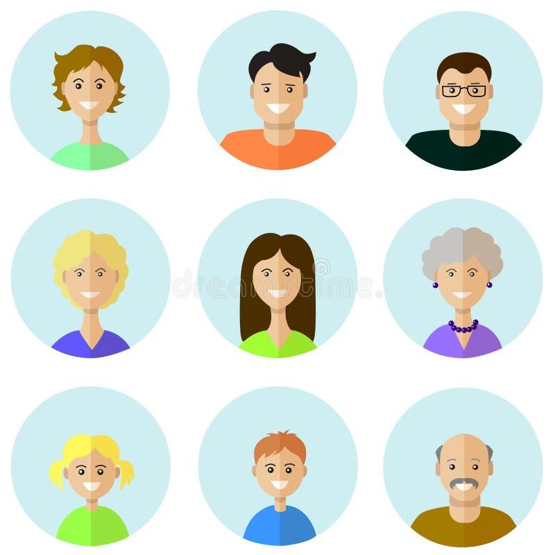 Sistema de iconos de la gente en estilo plano con las caras stock de ilustración