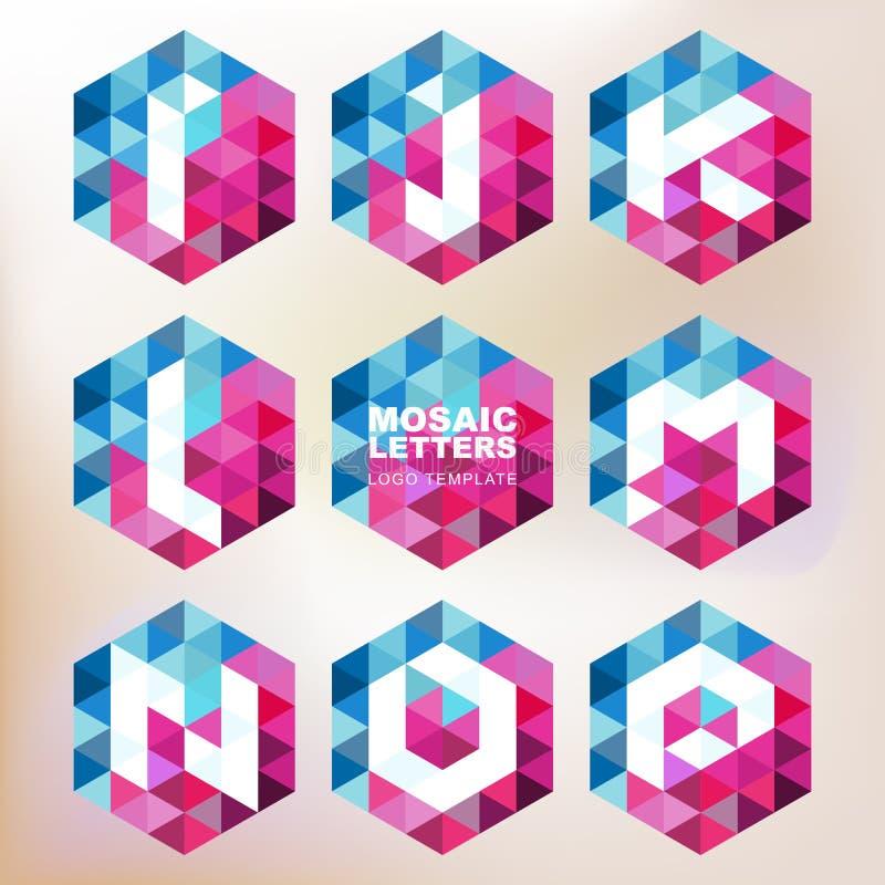 Sistema de iconos de la letra del mosaico Plantilla geométrica del diseño del logotipo corp ilustración del vector