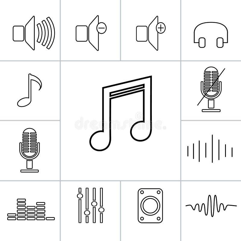Sistema de iconos de la música del esquema Ejemplo linear del vector libre illustration
