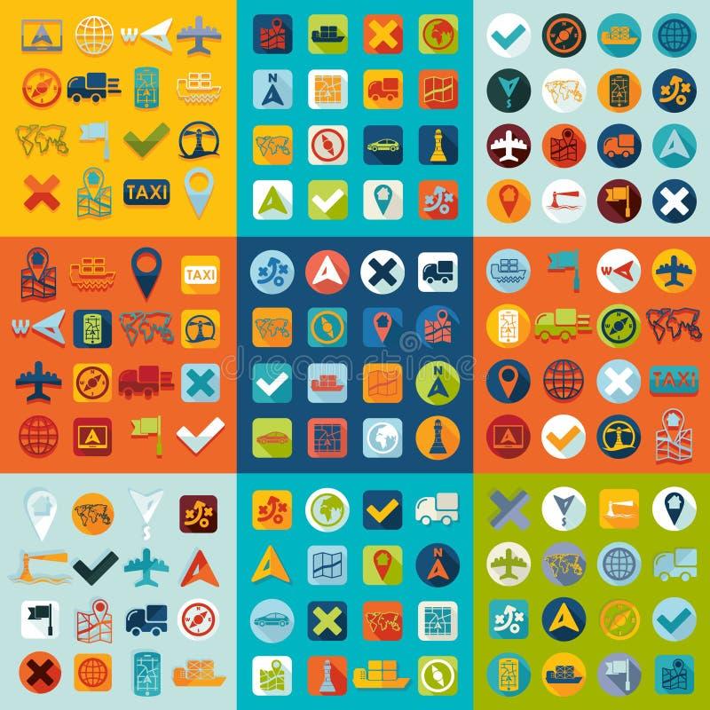 Sistema de iconos de la navegación stock de ilustración