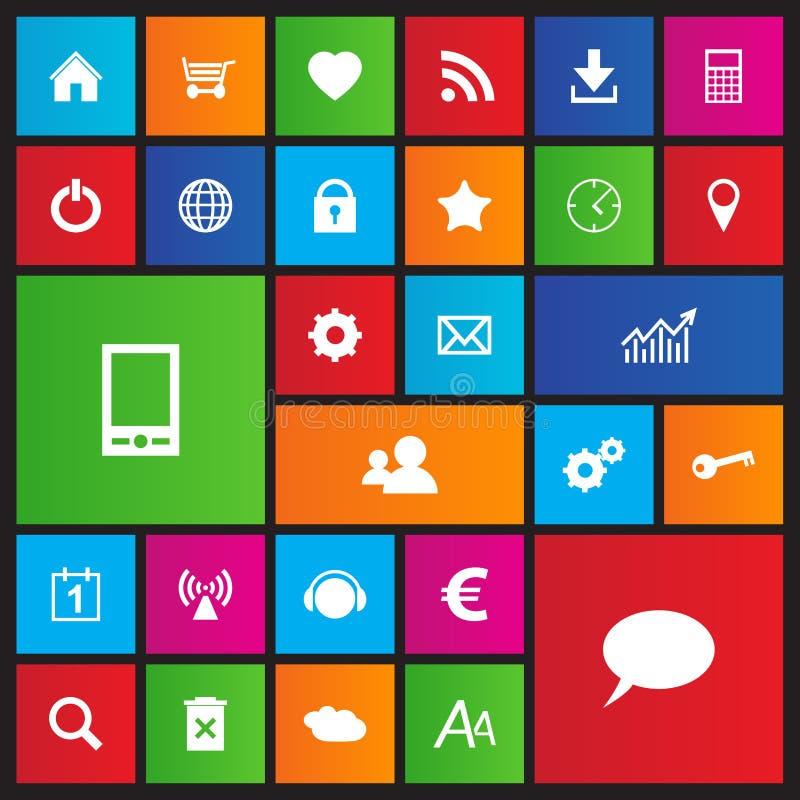 Sistema de iconos de la navegación del web en estilo del metro stock de ilustración