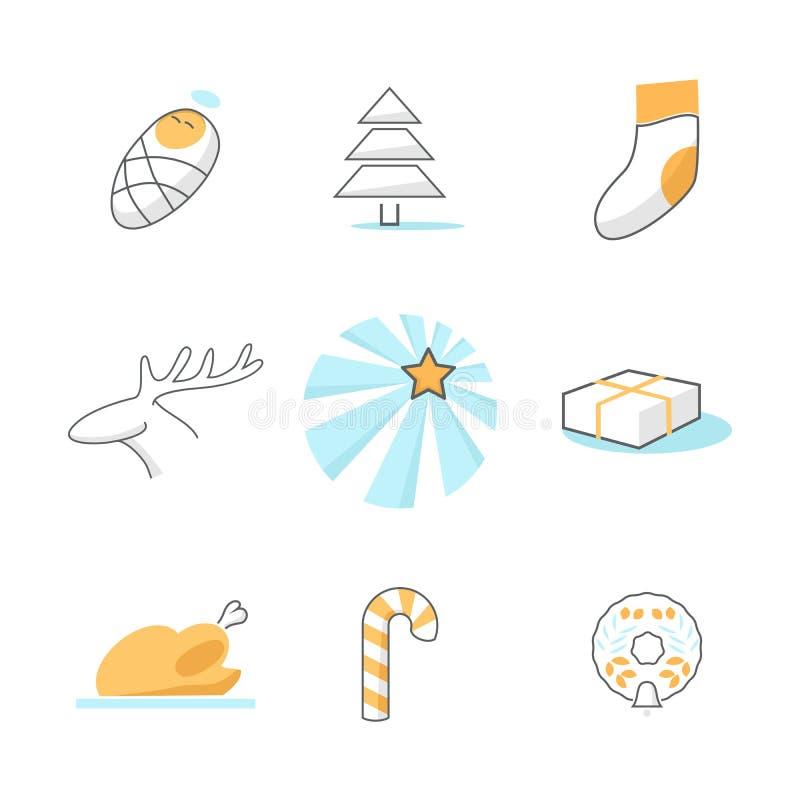 Sistema de iconos de la Navidad stock de ilustración