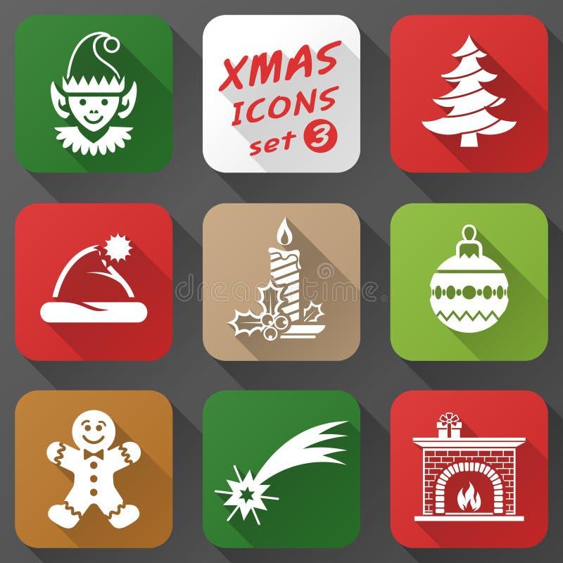 Sistema de iconos de la Navidad en estilo plano stock de ilustración