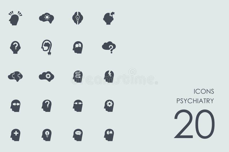 Sistema de iconos de la psiquiatría stock de ilustración
