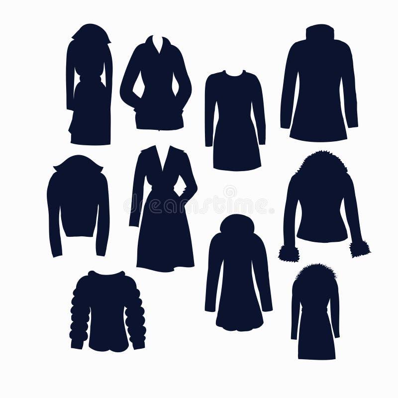 Sistema de iconos de la ropa del invierno de las mujeres libre illustration