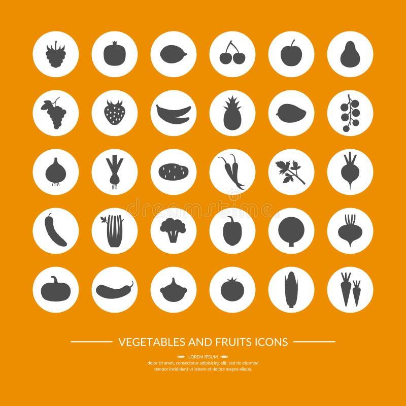 Sistema de iconos de la silueta Vehículos y fruta libre illustration