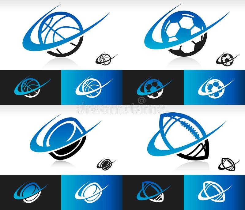 Iconos de las bolas del deporte de Swoosh ilustración del vector