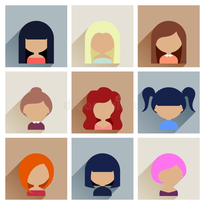 Sistema de iconos de las caras de las mujeres en diseño plano ilustración del vector