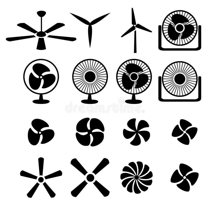 Sistema de iconos de las fans y de los propulsores stock de ilustración