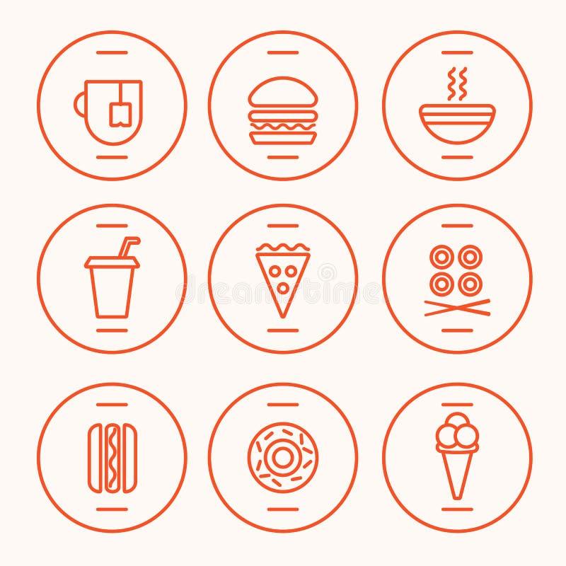 Sistema de iconos de los alimentos de preparación rápida ilustración del vector