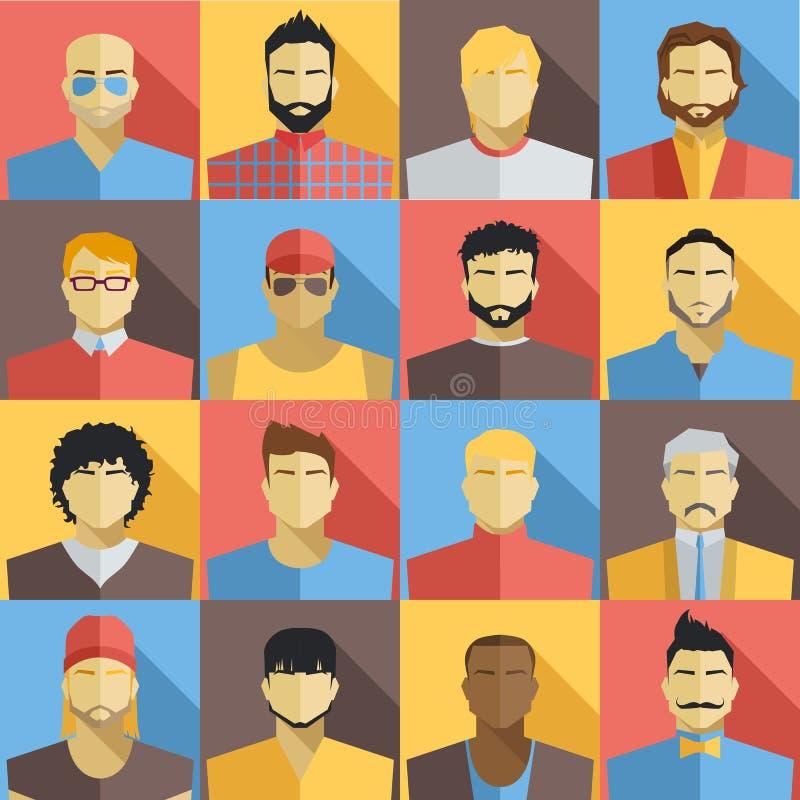 Sistema de iconos de los avatares de los hombres Iconos coloridos de las caras del varón fijados Diseño plano del estilo libre illustration