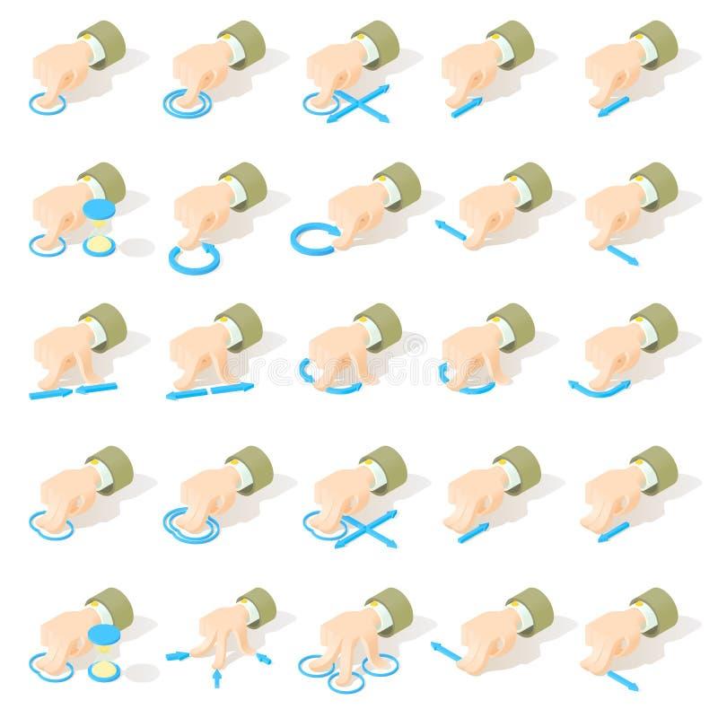 Sistema de 25 iconos de los gestos de la pantalla del multi-touch fotografía de archivo libre de regalías