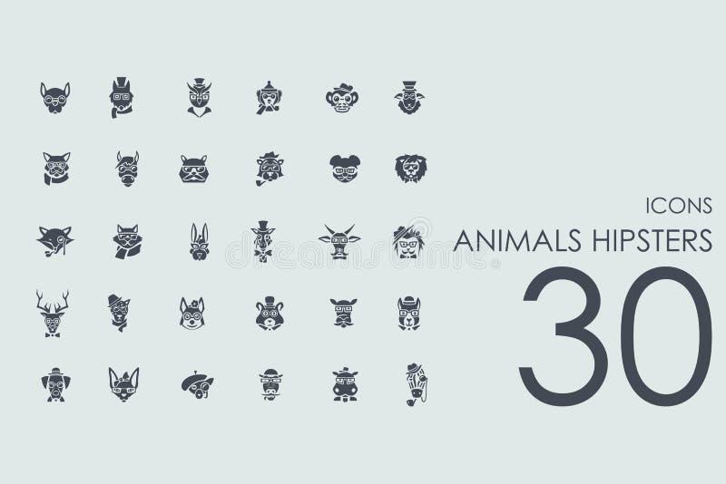 Sistema de iconos de los inconformistas de los animales libre illustration