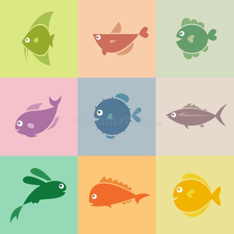 Sistema de iconos de los pescados ilustración del vector