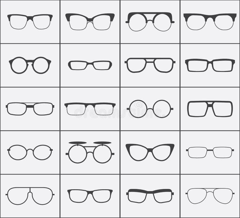 Sistema de iconos de los vidrios del vector en negro sobre blanco libre illustration