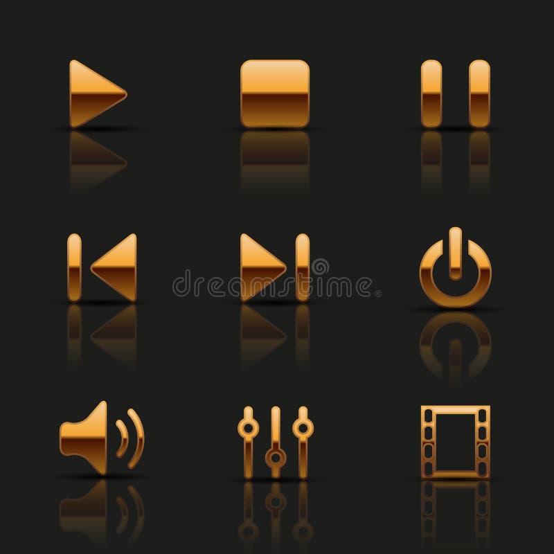 Download Sistema de iconos de oro ilustración del vector. Ilustración de metal - 42434511