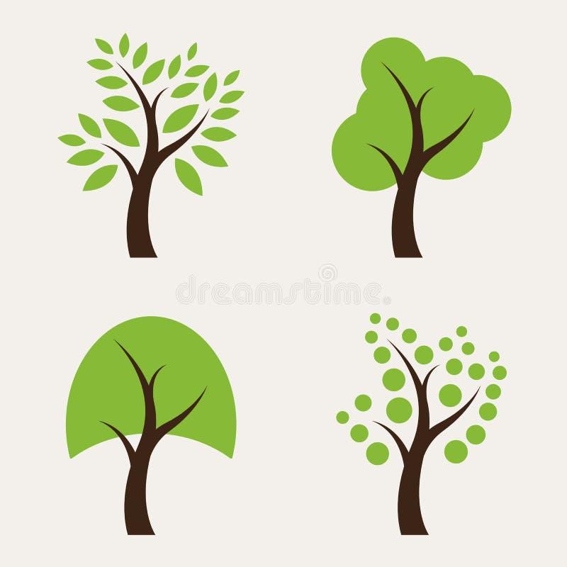 Sistema de iconos del árbol stock de ilustración