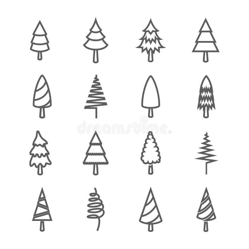 Sistema de iconos del árbol de pino ilustración del vector