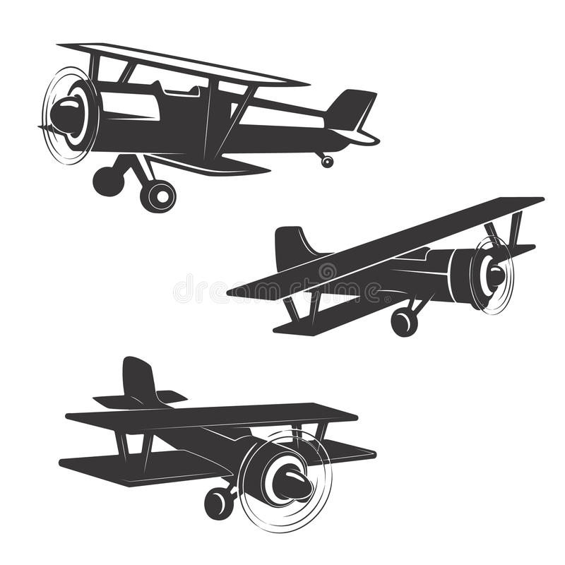 Sistema de iconos del aeroplano aislados en el fondo blanco ilustración del vector