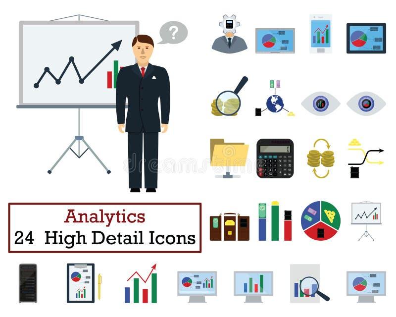 Sistema de 24 iconos del Analytics stock de ilustración
