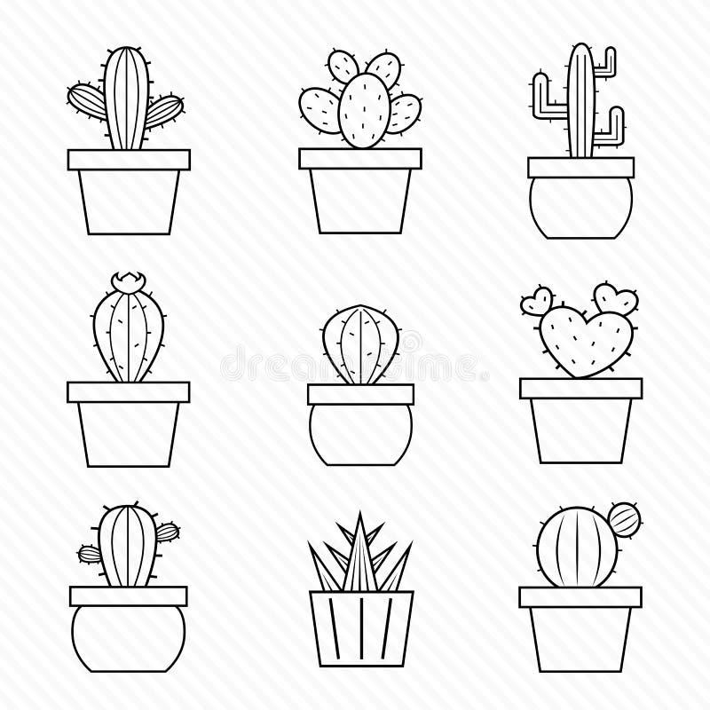 Sistema de iconos del cactus libre illustration