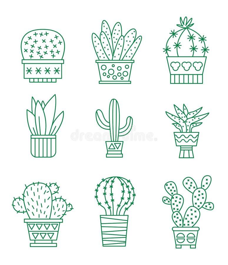 Sistema de iconos del cactus del vector ilustración del vector