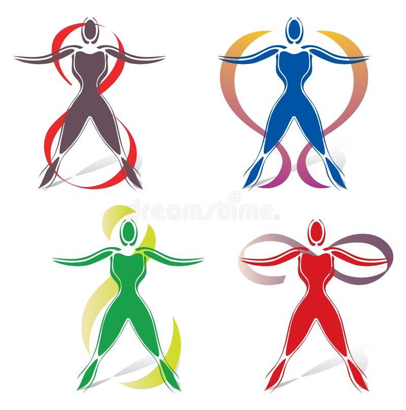Sistema de iconos del cuerpo con símbolo del infinito stock de ilustración