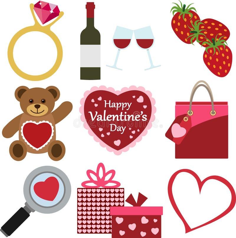Sistema de iconos del día del ` s de la tarjeta del día de San Valentín foto de archivo