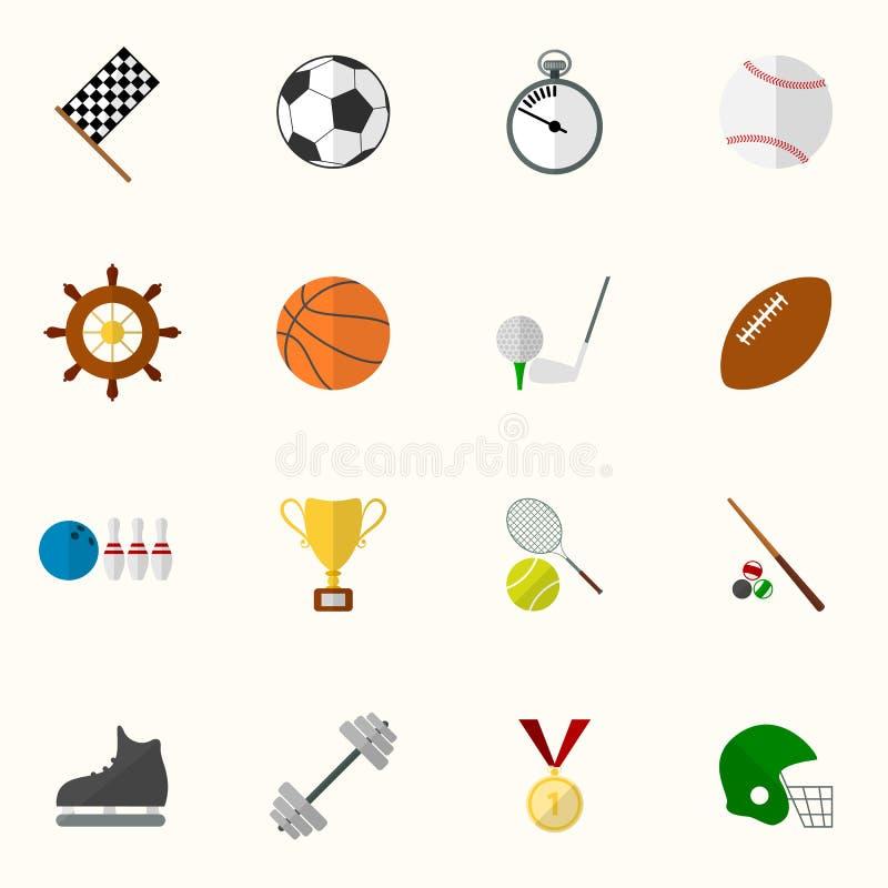 Sistema de iconos del deporte del vector en diseño plano ilustración del vector