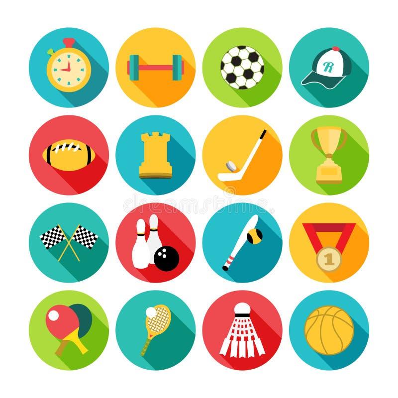 Sistema de iconos del deporte en diseño plano con de largo libre illustration