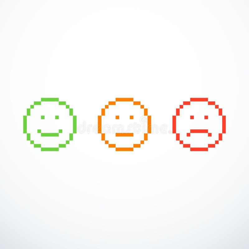 Sistema de iconos del emoticon del pixel libre illustration