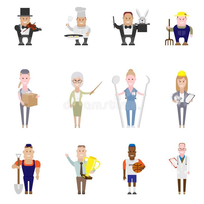 Sistema de iconos del empleo stock de ilustración