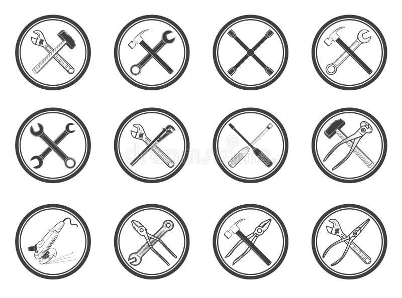 Sistema de iconos del equipo fijados Etiquetas del vector con las herramientas Diseño ilustración del vector