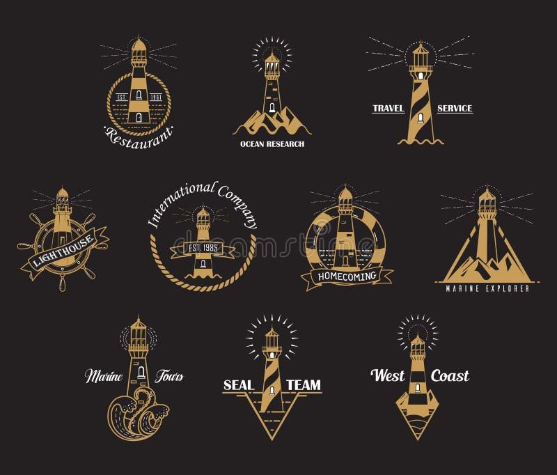 Sistema de iconos del faro con las rocas stock de ilustración