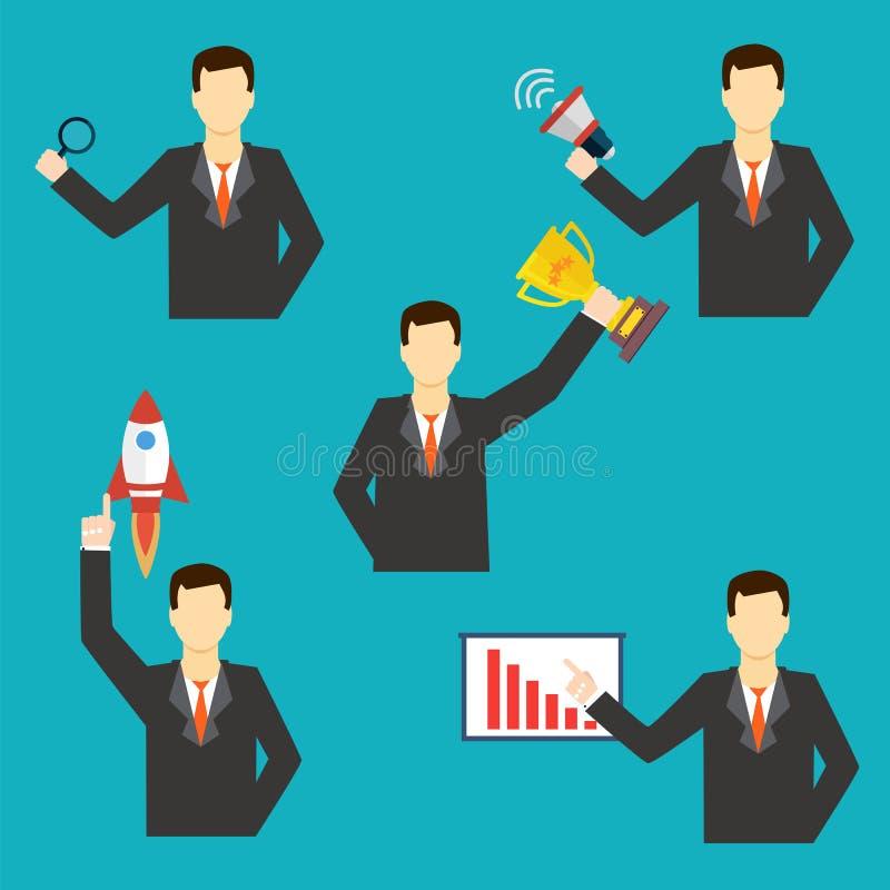 Sistema de iconos del hombre de negocios Ilustración del vector ilustración del vector