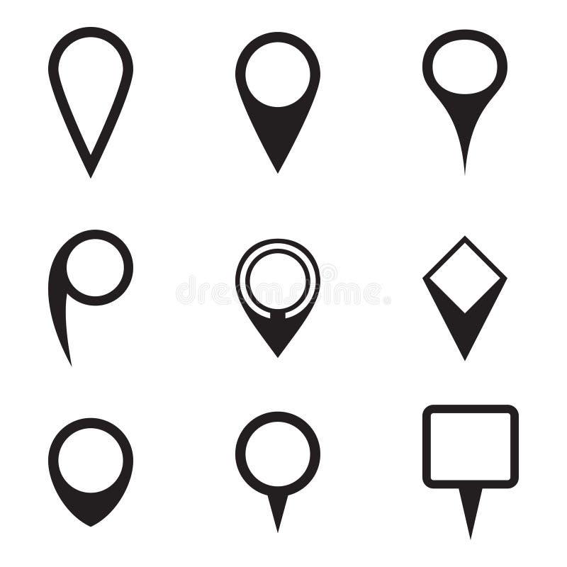 Sistema de iconos del indicador del mapa ilustración del vector