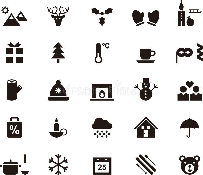 Sistema de iconos del invierno y del web de la Navidad libre illustration
