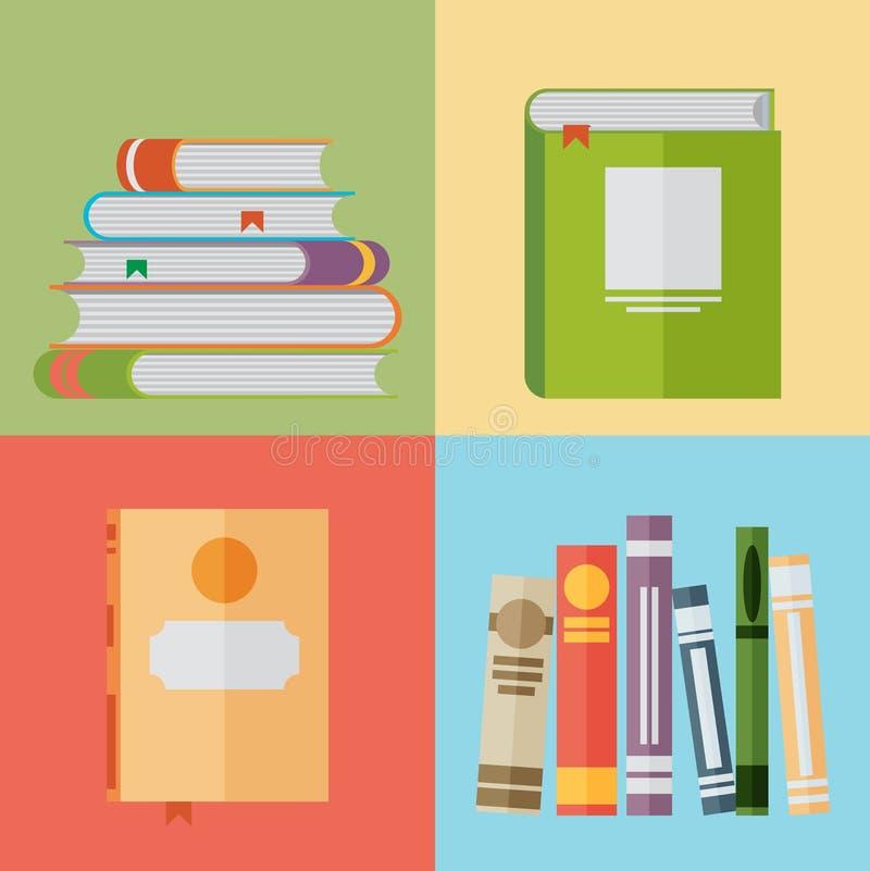 Sistema de iconos del libro en estilo plano del diseño libre illustration