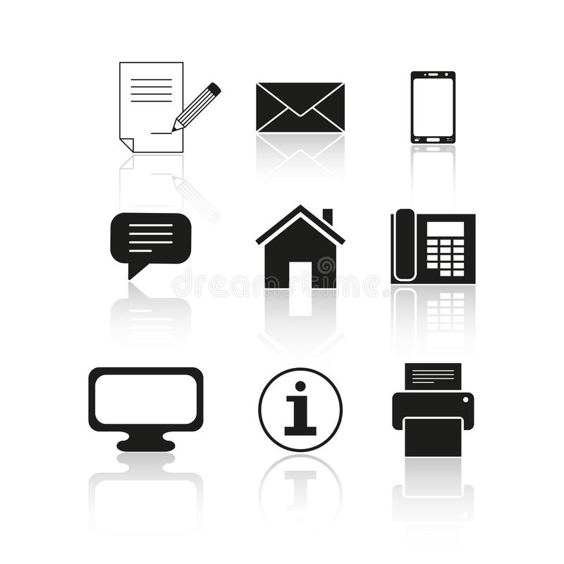 Sistema de iconos del mensaje del contacto stock de ilustración