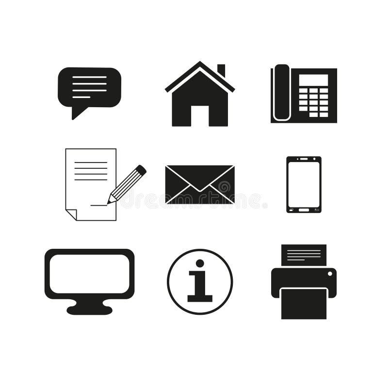 Sistema de iconos del mensaje de los contactos stock de ilustración
