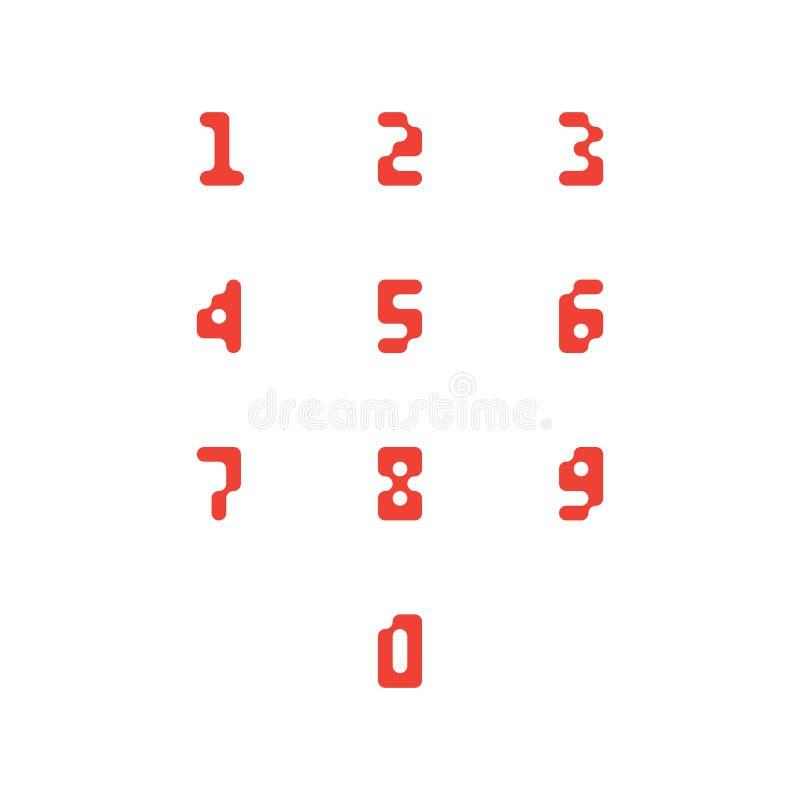 Sistema de iconos del número 0-9 números del pixel Ilustración del vector stock de ilustración