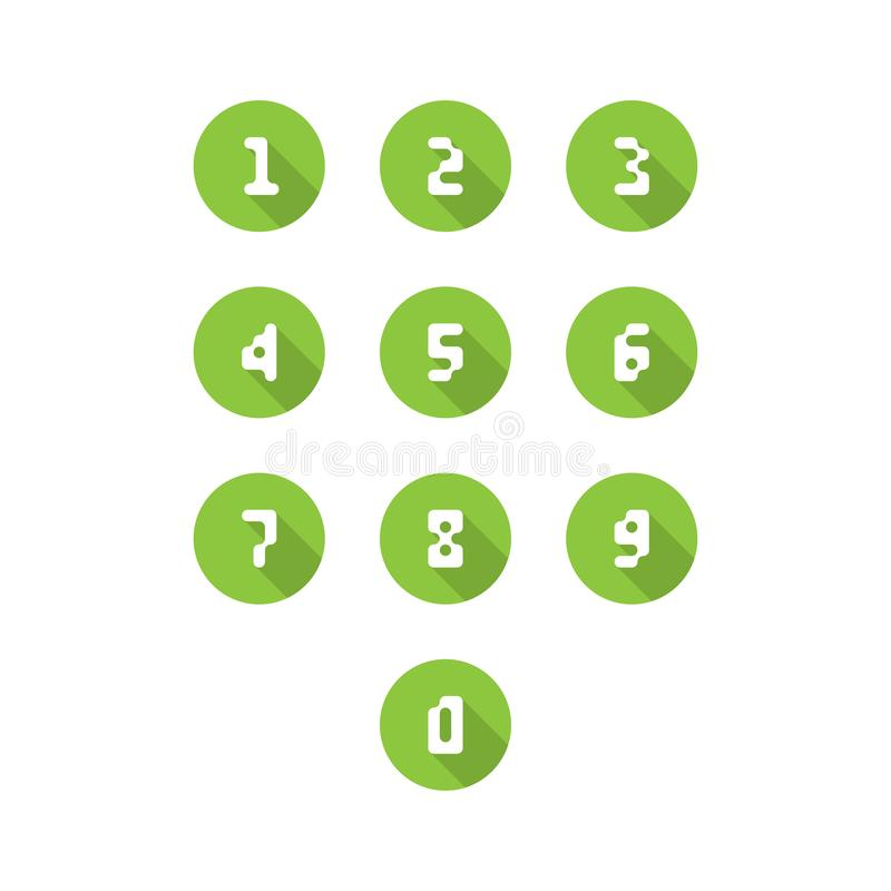 Sistema de iconos del número 0-9 números del pixel Ilustración del vector ilustración del vector