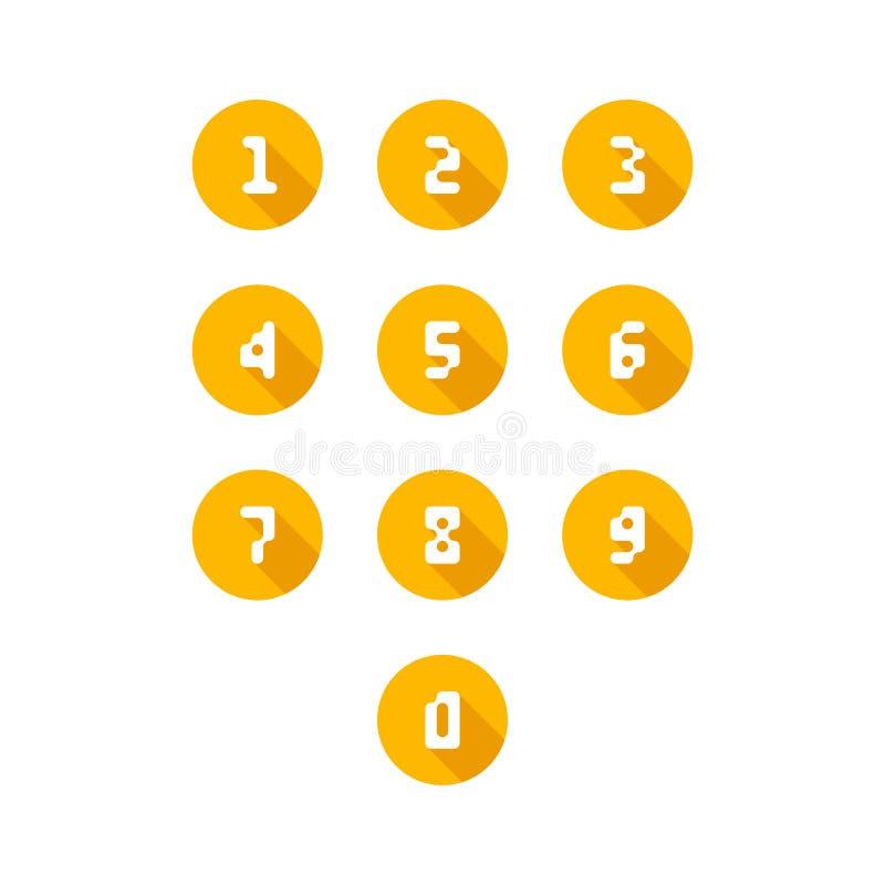 Sistema de iconos del n?mero 0-9 n?meros del pixel Ilustraci?n del vector stock de ilustración