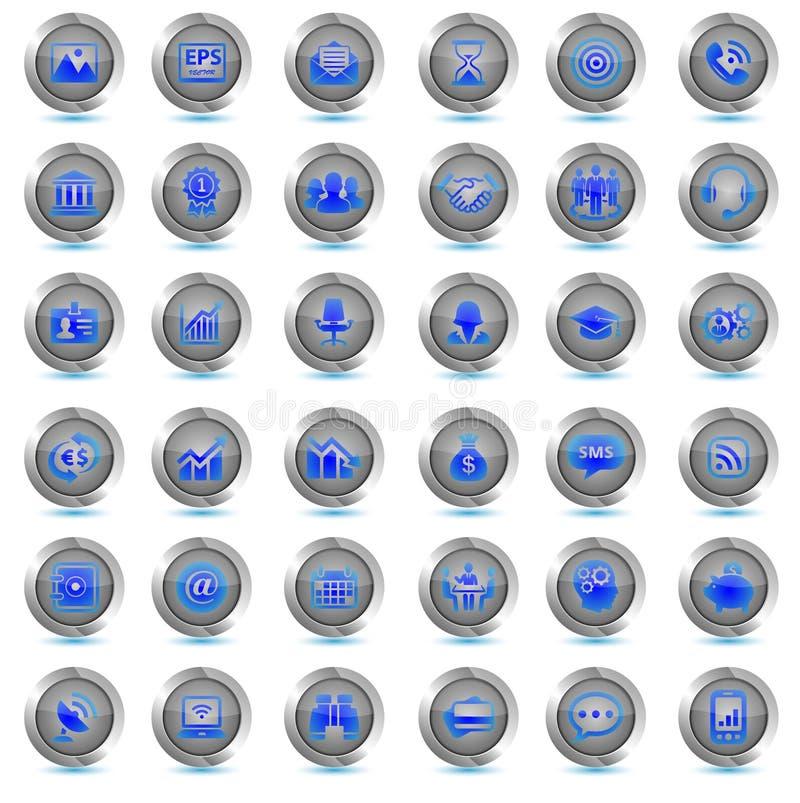 Sistema de iconos del negocio 36 botones del vector Neón azul de última hora ilustración del vector