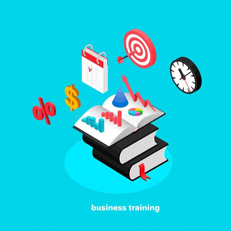 Sistema de iconos del negocio que simbolizan el entrenamiento del negocio ilustración del vector