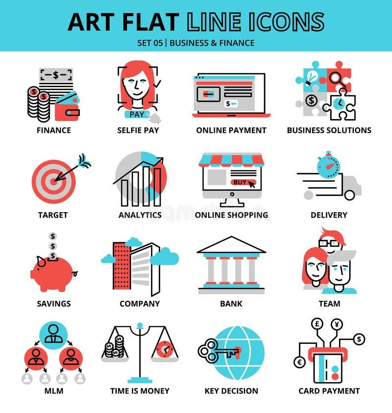 Sistema de iconos del negocio y de las finanzas, para el gráfico y el diseño web stock de ilustración